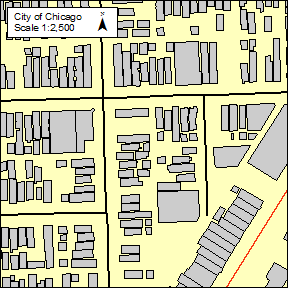 City of Chicago at a map scale of 1:2,500